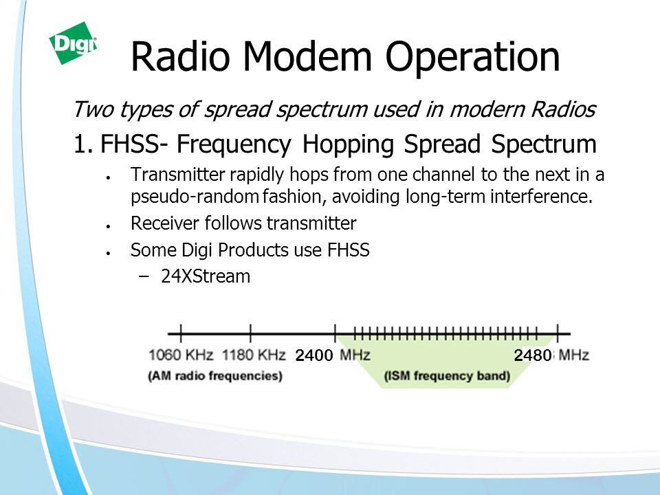 Radio Modem Operation Two types of spread spectrum used in modern Radios 1.FHSS- Frequency Hopping Spread Spectrum Transmitter rapidly hops from one channel to the next in a pseudo-random fashion, avoiding long-term interference.