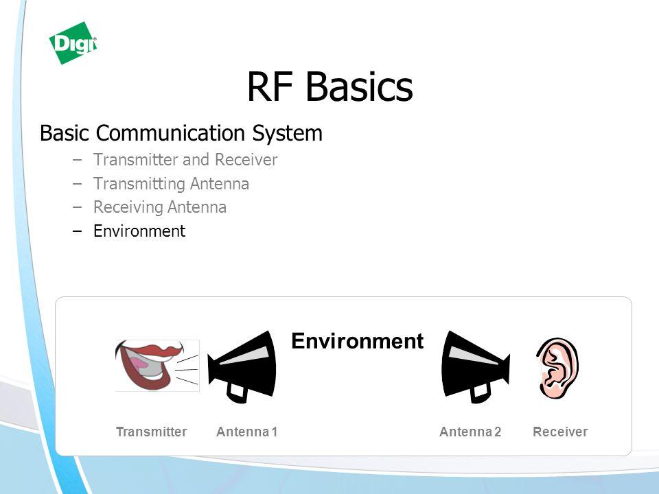 RF Basics Basic Communication System –Transmitter and Receiver –Transmitting Antenna –Receiving Antenna –Environment TransmitterReceiverAntenna 1Antenna 2 Environment