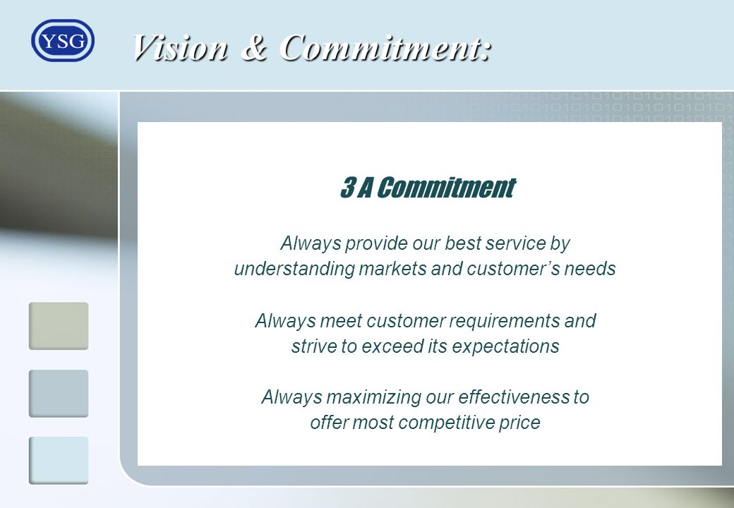 Vision & Commitment: 3 A Commitment Always provide our best service by understanding markets and customers needs Always meet customer requirements and