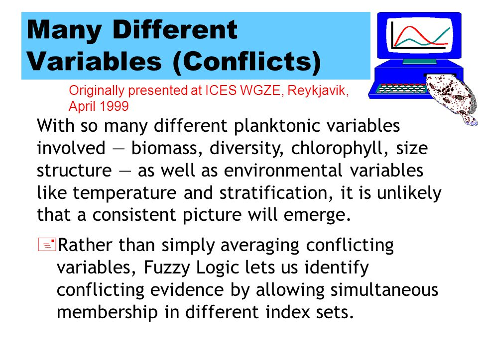 Originally presented at ICES WGZE, Reykjavik, April 1999 Problems Developing Plankton Indices Many different variables, leading to possibly inconsistent pictures of conditions.
