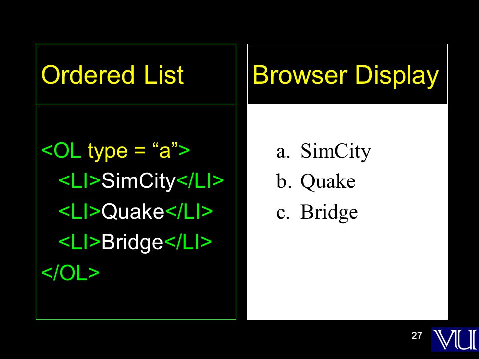 27 Ordered List SimCity Quake Bridge a.SimCity b.Quake c.Bridge Browser Display