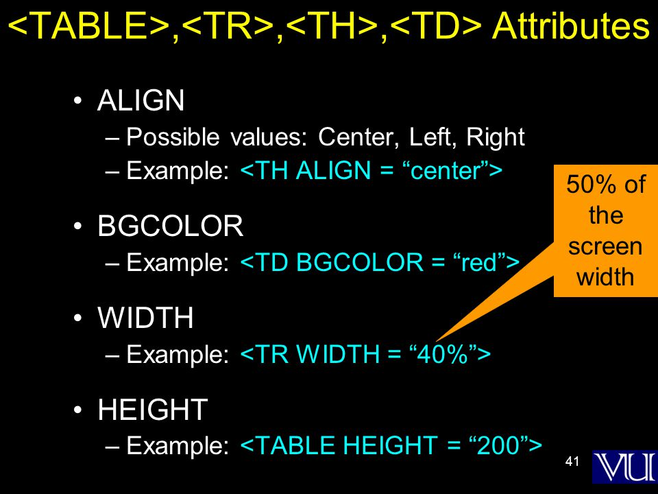 41,,, Attributes ALIGN –Possible values: Center, Left, Right –Example: BGCOLOR –Example: WIDTH –Example: HEIGHT –Example: 50% of the screen width