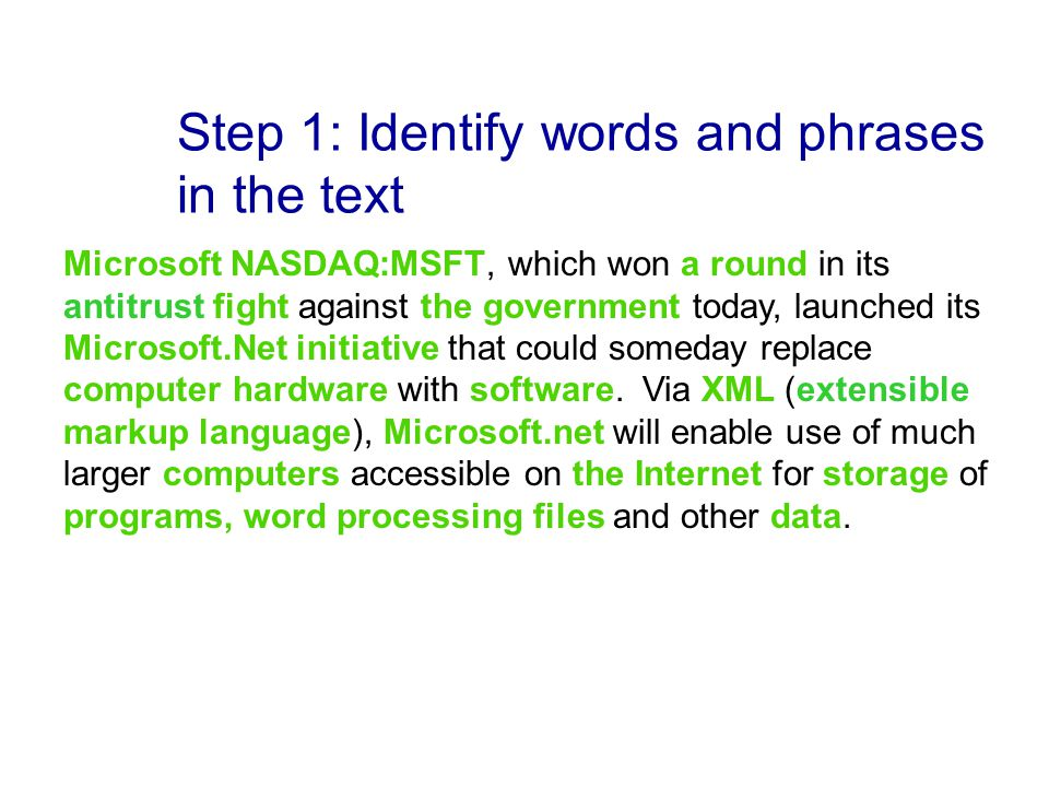 Step 1: Identify words and phrases in the text Microsoft NASDAQ:MSFT, which won a round in its antitrust fight against the government today, launched its Microsoft.Net initiative that could someday replace computer hardware with software.