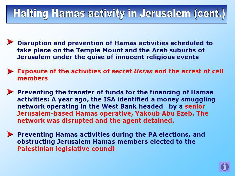 Disruption and prevention of Hamas activities scheduled to take place on the Temple Mount and the Arab suburbs of Jerusalem under the guise of innocent religious events Exposure of the activities of secret Usras and the arrest of cell members Preventing the transfer of funds for the financing of Hamas activities: A year ago, the ISA identified a money smuggling network operating in the West Bank headed by a senior Jerusalem-based Hamas operative, Yakoub Abu Ezeb.