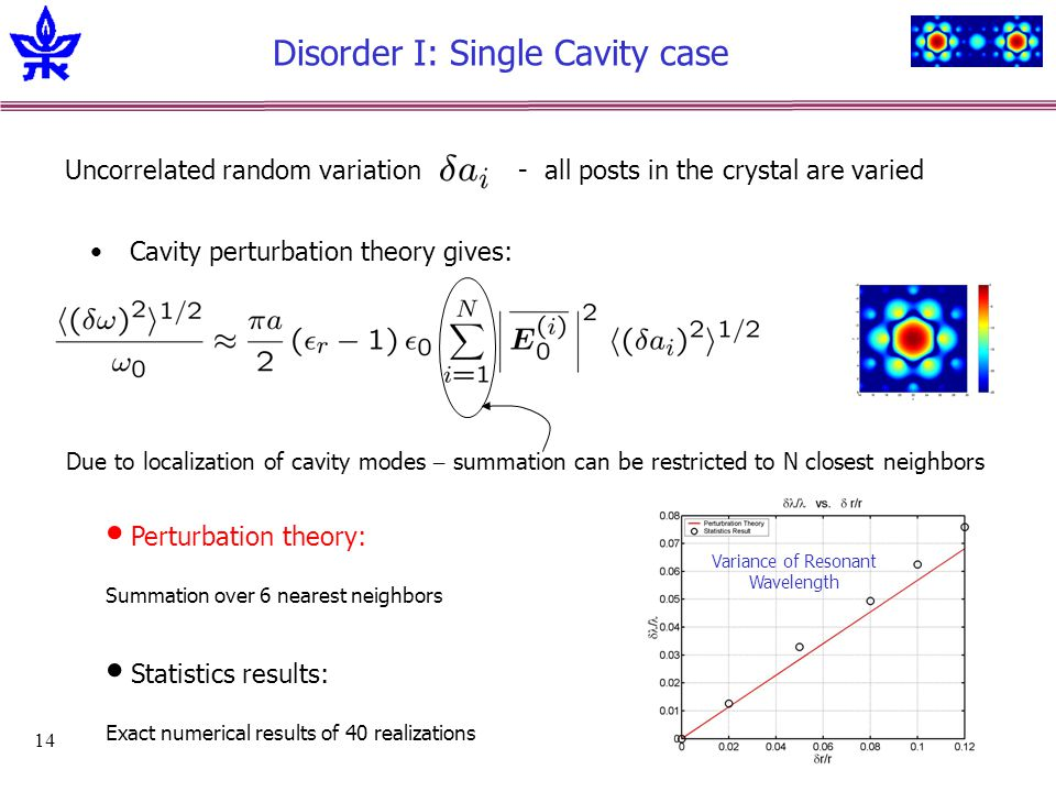 14 Disorder I: Single Cavity case Cavity perturbation theory gives: Uncorrelated random variation - all posts in the crystal are varied Due to localization of cavity modes – summation can be restricted to N closest neighbors Variance of Resonant Wavelength Perturbation theory: Summation over 6 nearest neighbors Statistics results: Exact numerical results of 40 realizations