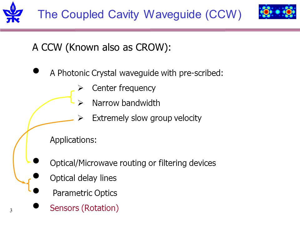 3 The Coupled Cavity Waveguide (CCW) A CCW (Known also as CROW): A Photonic Crystal waveguide with pre-scribed: Center frequency Narrow bandwidth Extremely slow group velocity Applications: Optical/Microwave routing or filtering devices Optical delay lines Parametric Optics Sensors (Rotation)