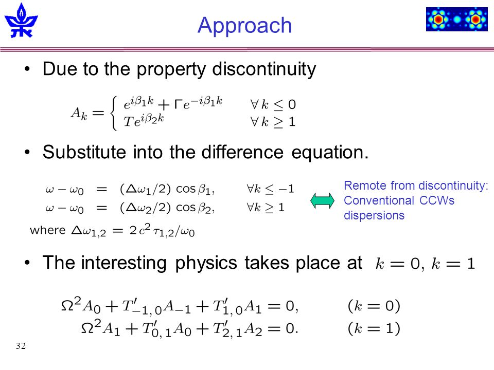 32 Approach Due to the property discontinuity Substitute into the difference equation.