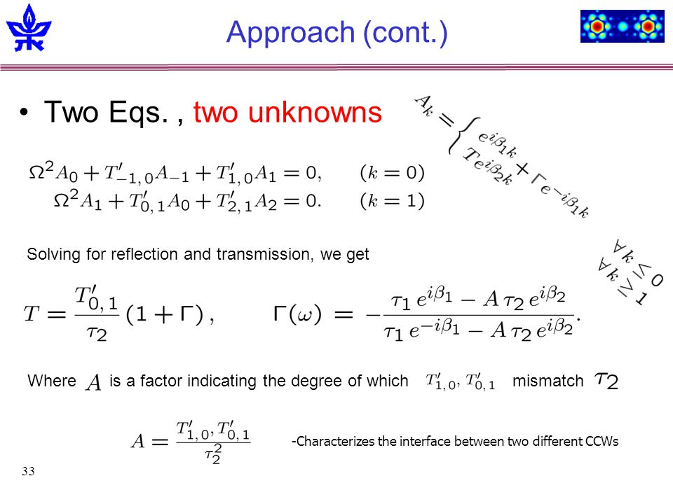 33 Approach (cont.) Two Eqs., two unknowns Where is a factor indicating the degree of which mismatch Solving for reflection and transmission, we get -Characterizes the interface between two different CCWs