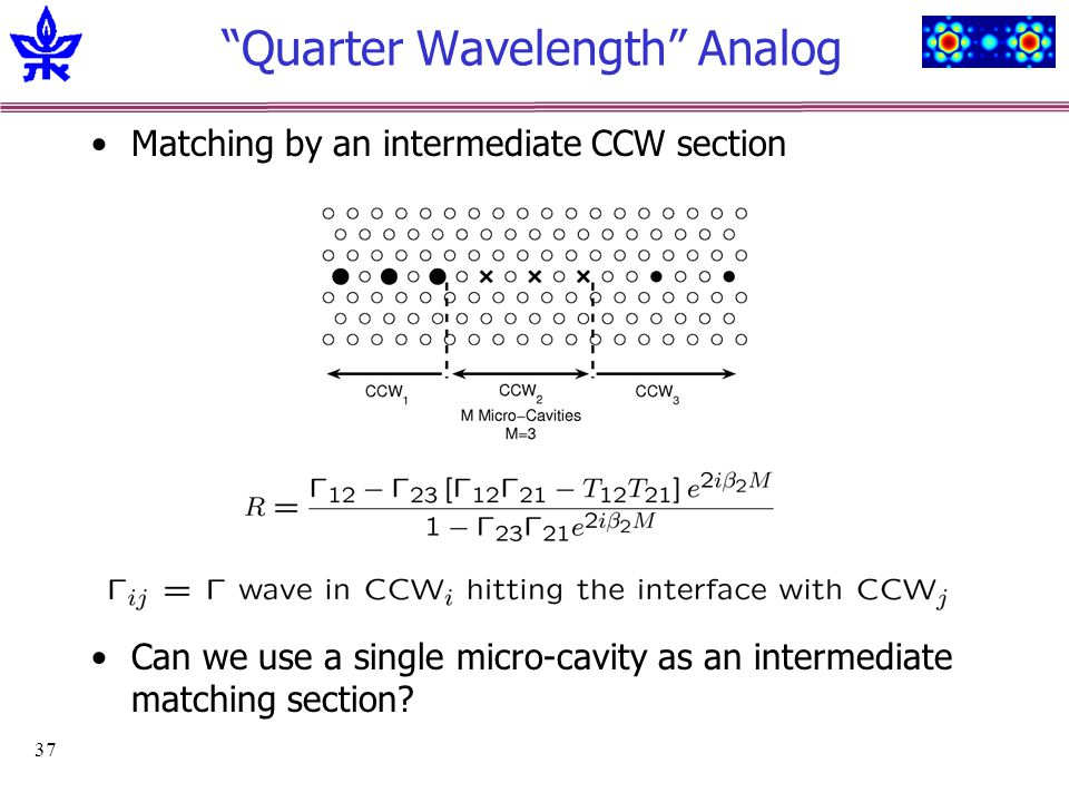 37 Quarter Wavelength Analog Matching by an intermediate CCW section Can we use a single micro-cavity as an intermediate matching section?