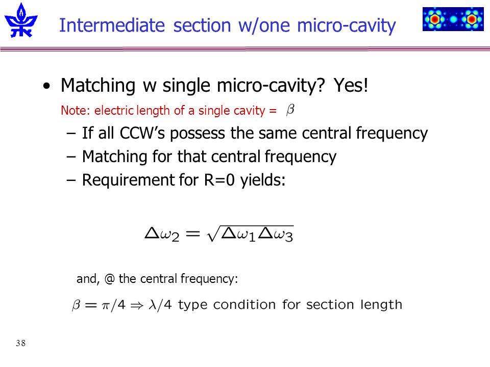 38 Intermediate section w/one micro-cavity Matching w single micro-cavity.