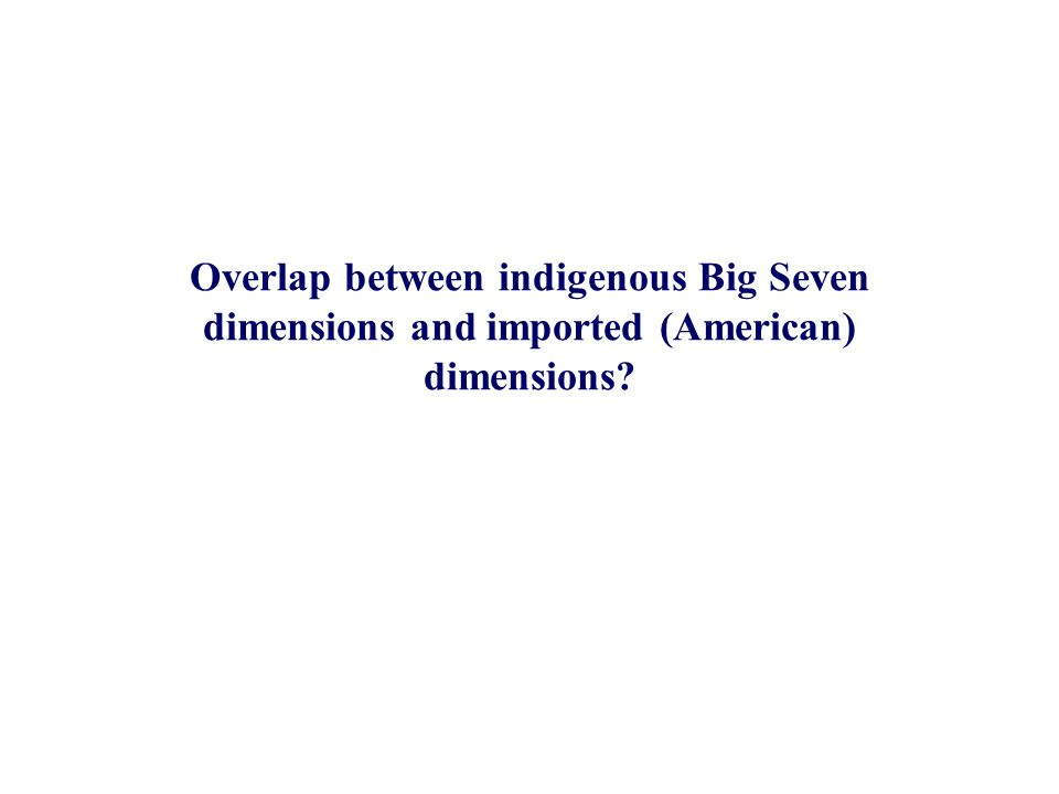 Overlap between indigenous Big Seven dimensions and imported (American) dimensions