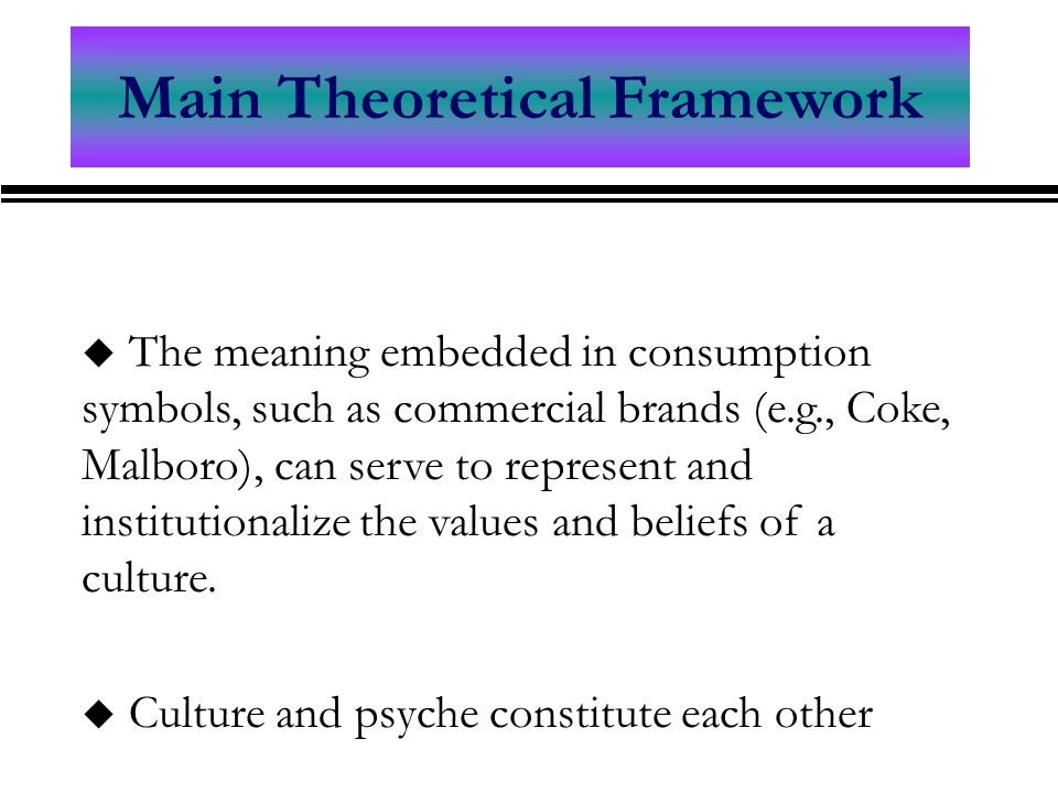 Main Theoretical Framework u The meaning embedded in consumption symbols, such as commercial brands (e.g., Coke, Malboro), can serve to represent and institutionalize the values and beliefs of a culture.
