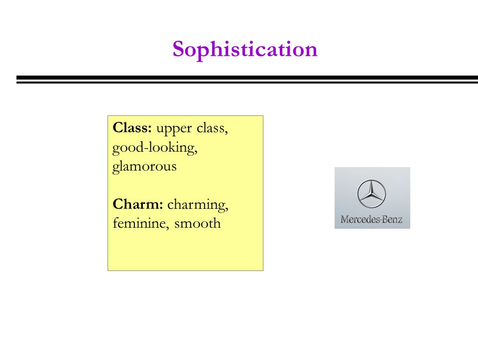Sophistication Class: upper class, good-looking, glamorous Charm: charming, feminine, smooth