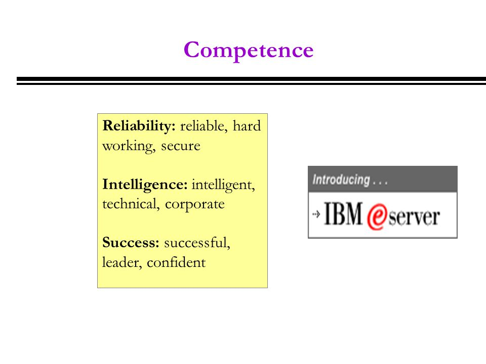Competence Reliability: reliable, hard working, secure Intelligence: intelligent, technical, corporate Success: successful, leader, confident