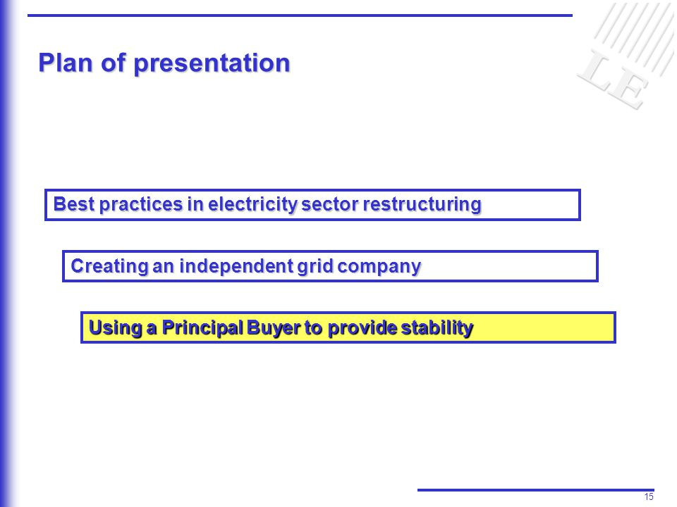 15 Plan of presentation Best practices in electricity sector restructuring Creating an independent grid company Using a Principal Buyer to provide stability