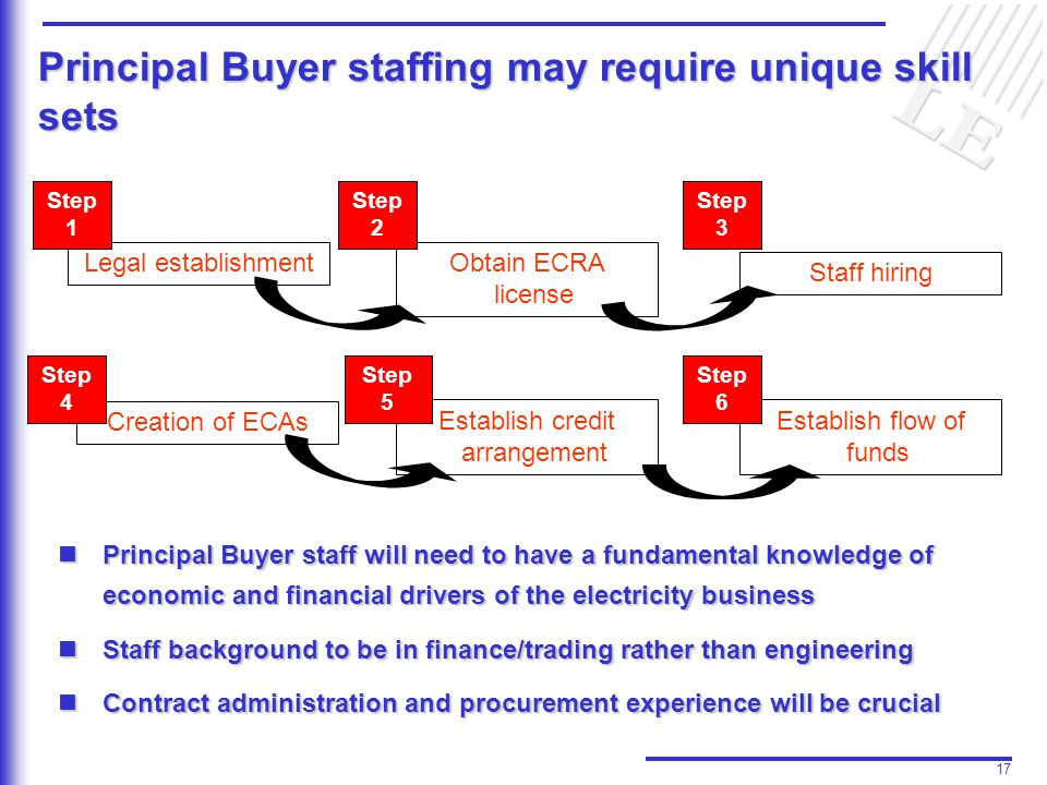 17 Principal Buyer staffing may require unique skill sets Legal establishment Step 1 Obtain ECRA license Step 2 Staff hiring Establish credit arrangement Step 5 Creation of ECAs Establish flow of funds Step 6 Step 3 Principal Buyer staff will need to have a fundamental knowledge of economic and financial drivers of the electricity business Principal Buyer staff will need to have a fundamental knowledge of economic and financial drivers of the electricity business Staff background to be in finance/trading rather than engineering Staff background to be in finance/trading rather than engineering Contract administration and procurement experience will be crucial Contract administration and procurement experience will be crucial Step 4