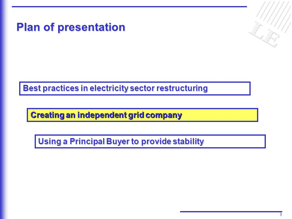 9 Plan of presentation Best practices in electricity sector restructuring Creating an independent grid company Using a Principal Buyer to provide stability
