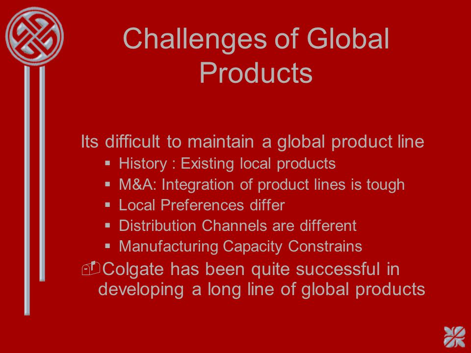 Poor Follow-up -Launching Standard Global products world wide is a complex task -Often firms do a poor job on following up on efforts and results from