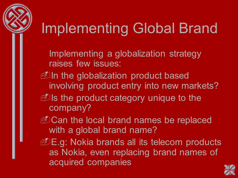 Brand Globalization Potential -Not all local brands can become global. Heres a checklist to see the brand fit: Does the brand name make sense outside