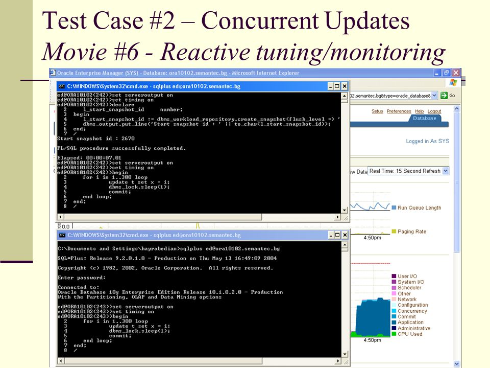 Test Case #2 – Concurrent Updates Movie #6 - Reactive tuning/monitoring