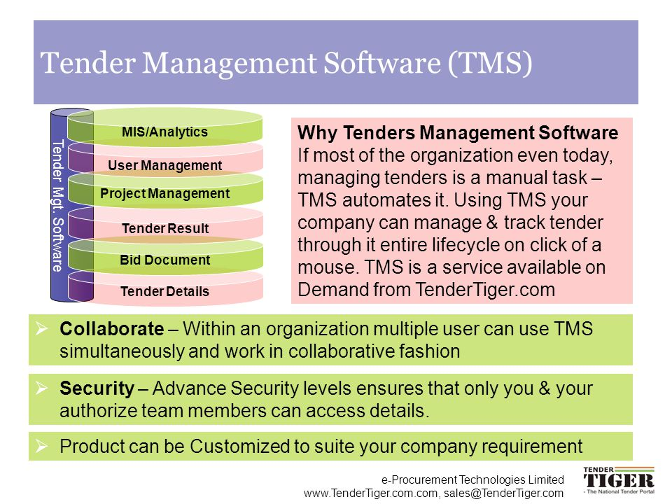 e-Procurement Technologies Limited www.TenderTiger.com.com, sales@TenderTiger.com Tender Management Software (TMS) Why Tenders Management Software If