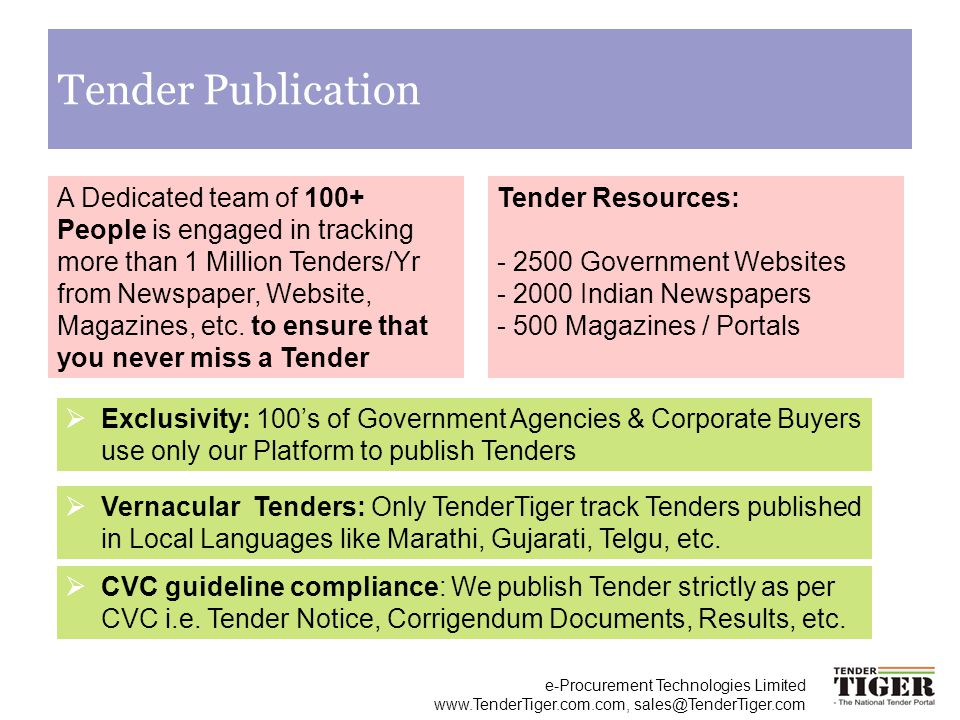 e-Procurement Technologies Limited www.TenderTiger.com.com, sales@TenderTiger.com Tender Publication A Dedicated team of 100+ People is engaged in tra