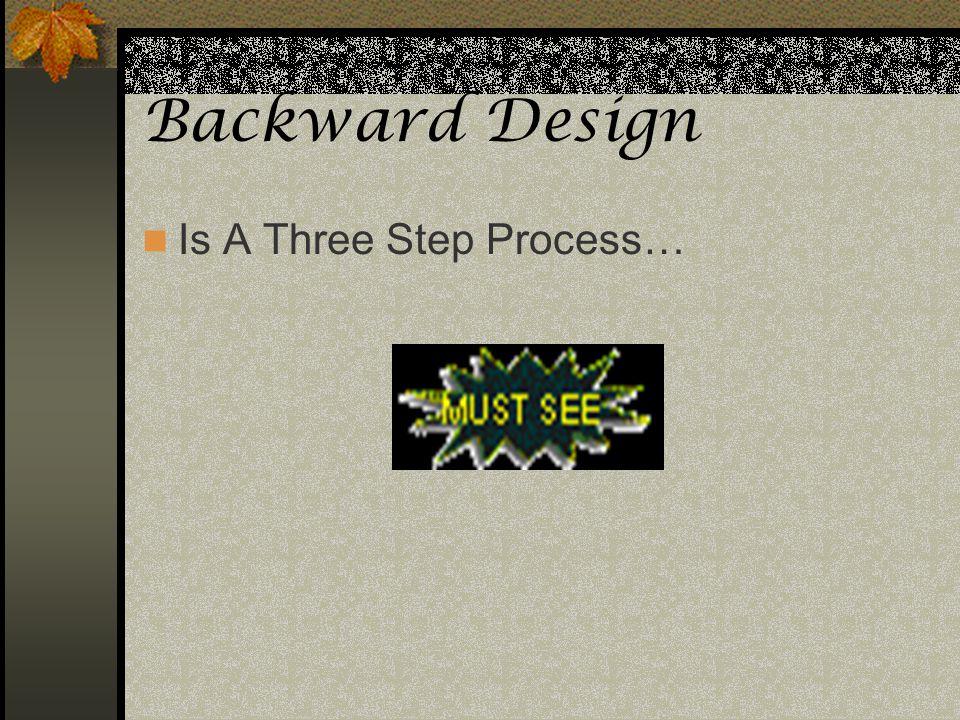 Backward Design Is A Three Step Process…