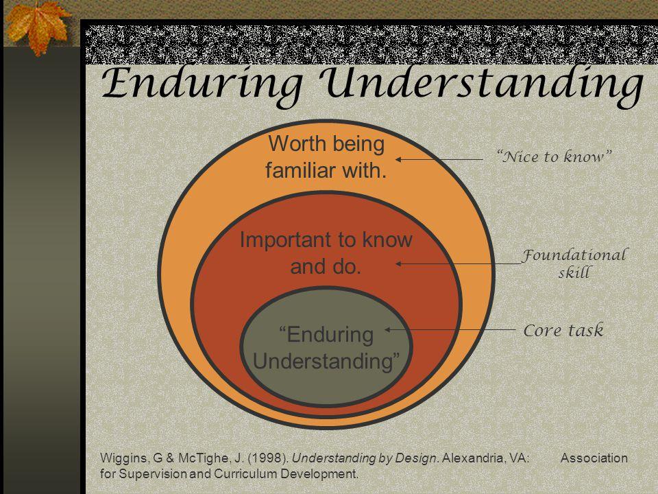 Enduring Understanding Wiggins, G & McTighe, J. (1998). Understanding by Design. Alexandria, VA: Association for Supervision and Curriculum Developmen