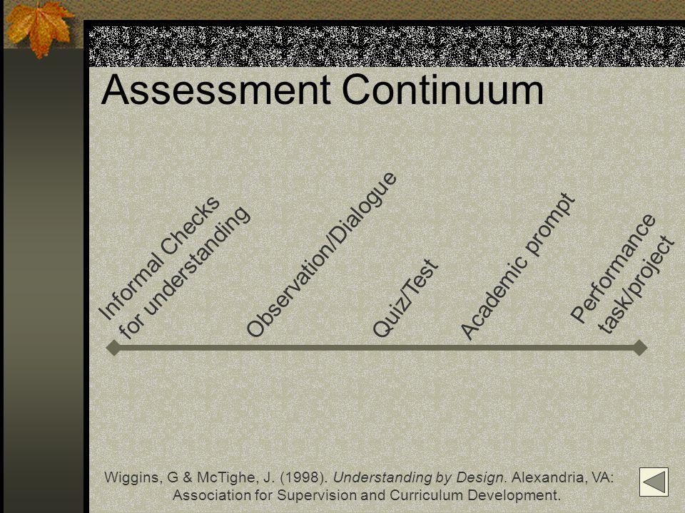 Assessment Continuum Informal Checks for understanding Observation/Dialogue Quiz/Test Academic prompt Performance task/project Wiggins, G & McTighe, J