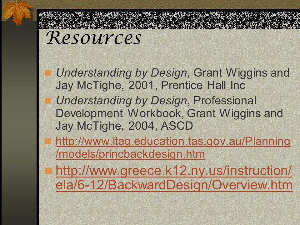 Resources Understanding by Design, Grant Wiggins and Jay McTighe, 2001, Prentice Hall Inc Understanding by Design, Professional Development Workbook,