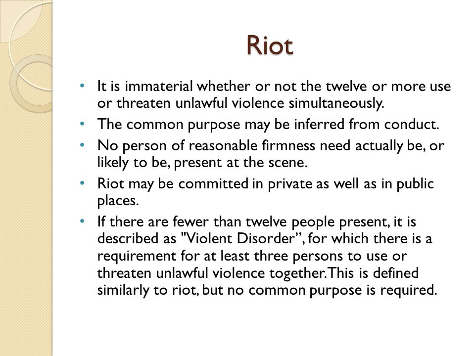 Civil Commotion It denotes a stage between a riot and a civil war.