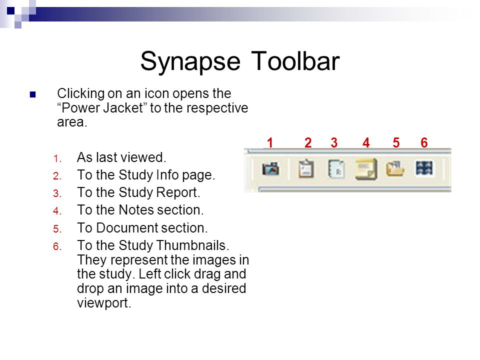 Synapse Toolbar Clicking on an icon opens the Power Jacket to the respective area. 1. As last viewed. 2. To the Study Info page. 3. To the Study Repor