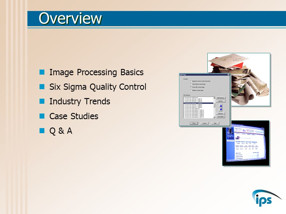 Document Control Automated control system for the imaging process Tracks workflow from receipt to delivery Records time, date and operator at each step Enables in-process check-out of documents ImageTrack Database-driven reporting system Ensures that all documents or folders have been successfully processed Ensures that any missing documents are reported in a timely fashion ImageAudit TM