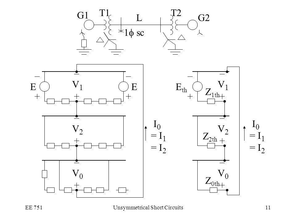 EE 751Unsymmetrical Short Circuits11 I 0 = I 1 = I 2 V1V1 V2V2 V0V0 E th Z 1th Z 2th Z 0th V1V1 V2V2 V0V0 EE I 0 = I 1 = I 2 1 sc G1 G2 T2T1 L