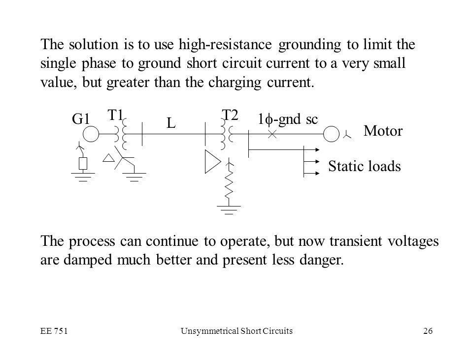 EE 751Unsymmetrical Short Circuits26 The solution is to use high-resistance grounding to limit the single phase to ground short circuit current to a very small value, but greater than the charging current.