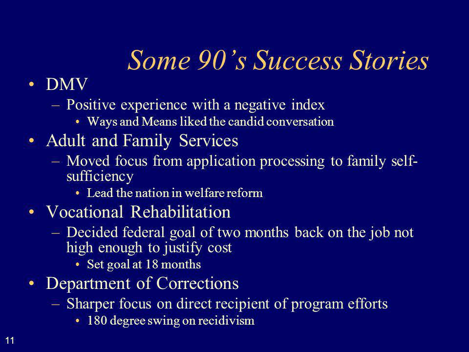 11 Some 90s Success Stories DMV –Positive experience with a negative index Ways and Means liked the candid conversation Adult and Family Services –Moved focus from application processing to family self- sufficiency Lead the nation in welfare reform Vocational Rehabilitation –Decided federal goal of two months back on the job not high enough to justify cost Set goal at 18 months Department of Corrections –Sharper focus on direct recipient of program efforts 180 degree swing on recidivism