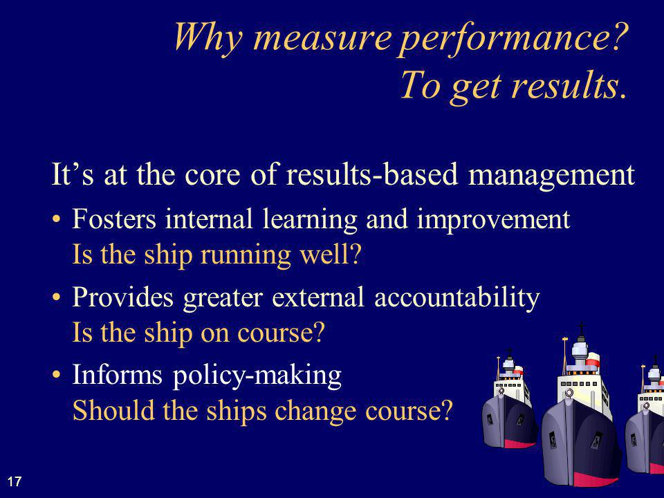 17 Why measure performance.To get results.