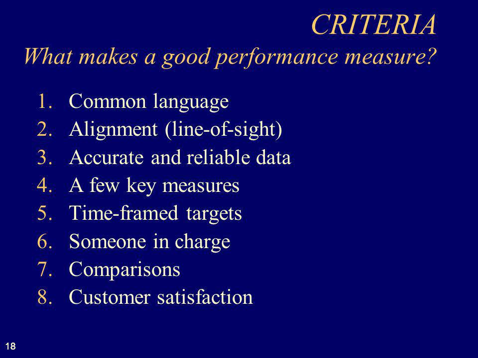 18 CRITERIA What makes a good performance measure? 1.Common language 2.Alignment (line-of-sight) 3.Accurate and reliable data 4.A few key measures 5.T