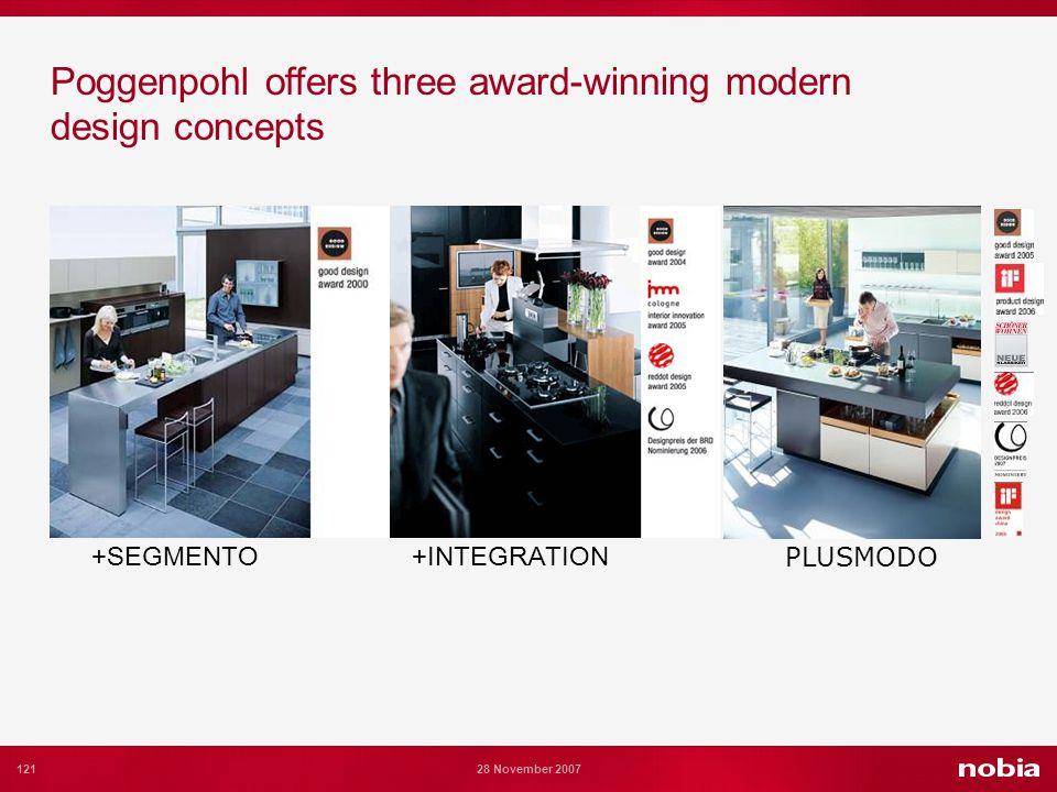 121 28 November 2007 Poggenpohl offers three award-winning modern design concepts +SEGMENTO+INTEGRATION PLUSMODO