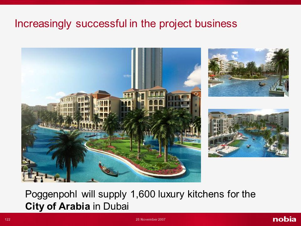 122 28 November 2007 Increasingly successful in the project business Poggenpohl will supply 1,600 luxury kitchens for the City of Arabia in Dubai