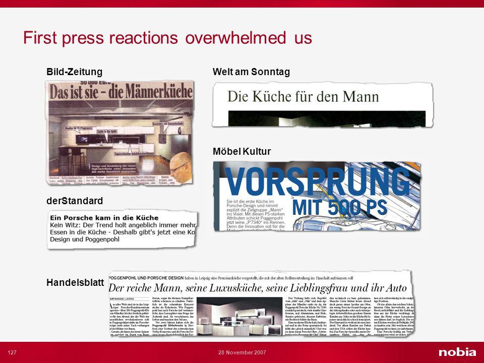 127 28 November 2007 First press reactions overwhelmed us Bild-Zeitung Handelsblatt derStandard Möbel Kultur Welt am Sonntag