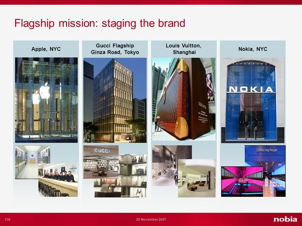 135 28 November 2007 Flagship mission: staging the brand Apple, NYC Gucci Flagship Ginza Road, Tokyo Louis Vuitton, Shanghai Nokia, NYC