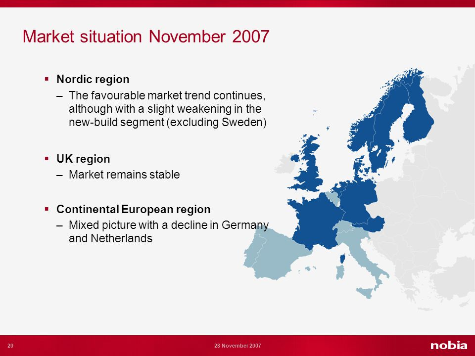 20 28 November 2007 Market situation November 2007 Nordic region –The favourable market trend continues, although with a slight weakening in the new-build segment (excluding Sweden) UK region –Market remains stable Continental European region –Mixed picture with a decline in Germany and Netherlands