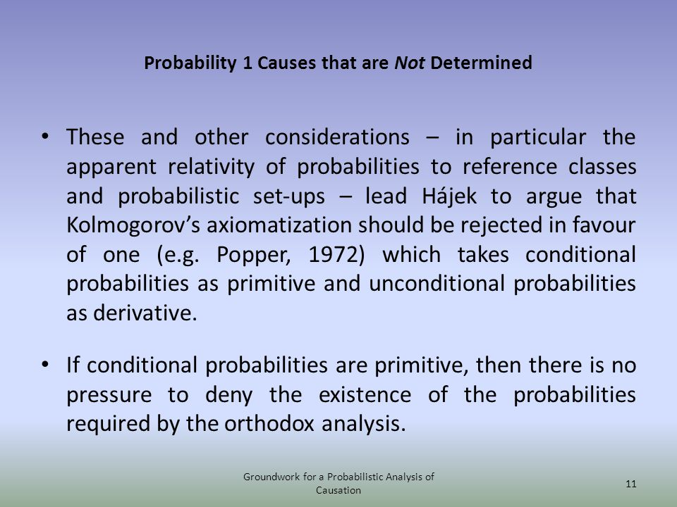 Probability 1 Causes that are Not Determined These and other considerations – in particular the apparent relativity of probabilities to reference clas