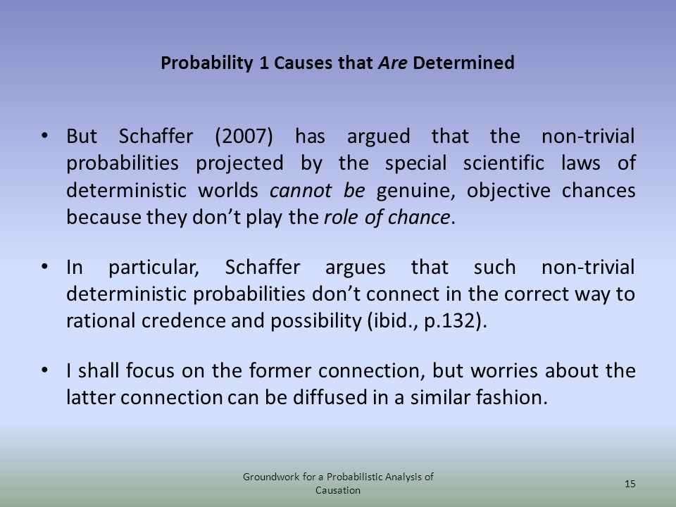 Probability 1 Causes that Are Determined But Schaffer (2007) has argued that the non-trivial probabilities projected by the special scientific laws of deterministic worlds cannot be genuine, objective chances because they dont play the role of chance.