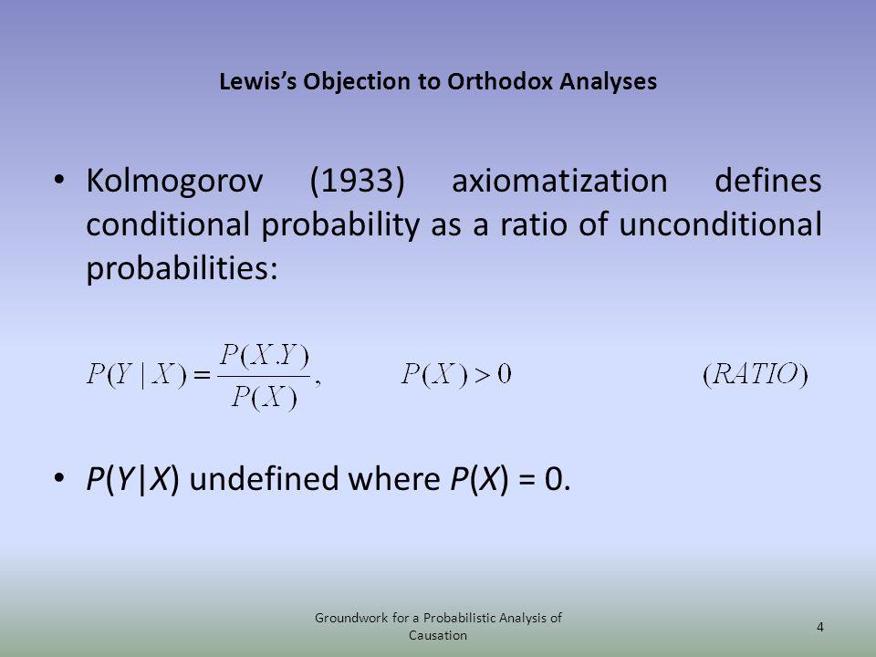Lewiss Objection to Orthodox Analyses Kolmogorov (1933) axiomatization defines conditional probability as a ratio of unconditional probabilities: P(Y|