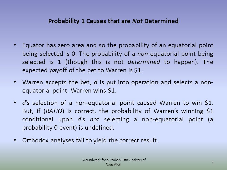 Probability 1 Causes that are Not Determined Equator has zero area and so the probability of an equatorial point being selected is 0.