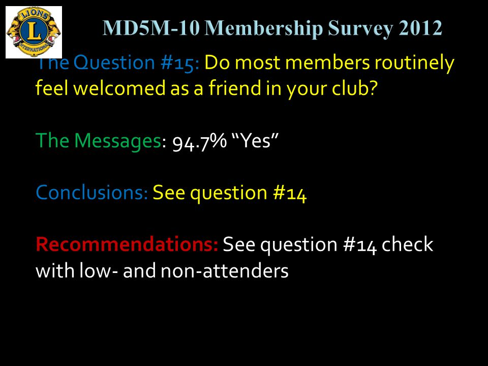 The Question #15: Do most members routinely feel welcomed as a friend in your club.