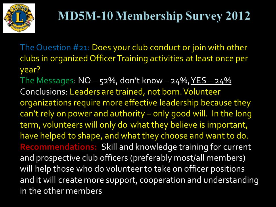 The Question #21: Does your club conduct or join with other clubs in organized Officer Training activities at least once per year.
