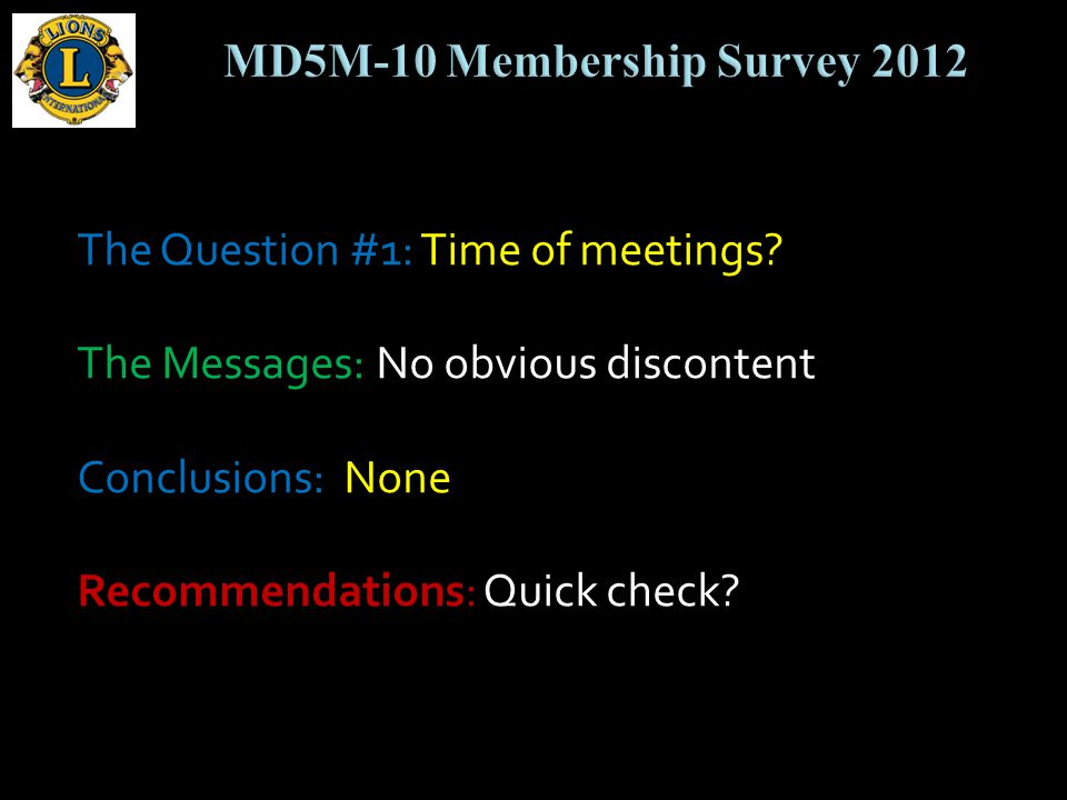 The Question #1: Time of meetings.